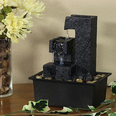 Square Tiered Tabletop Fountain with LED Lights