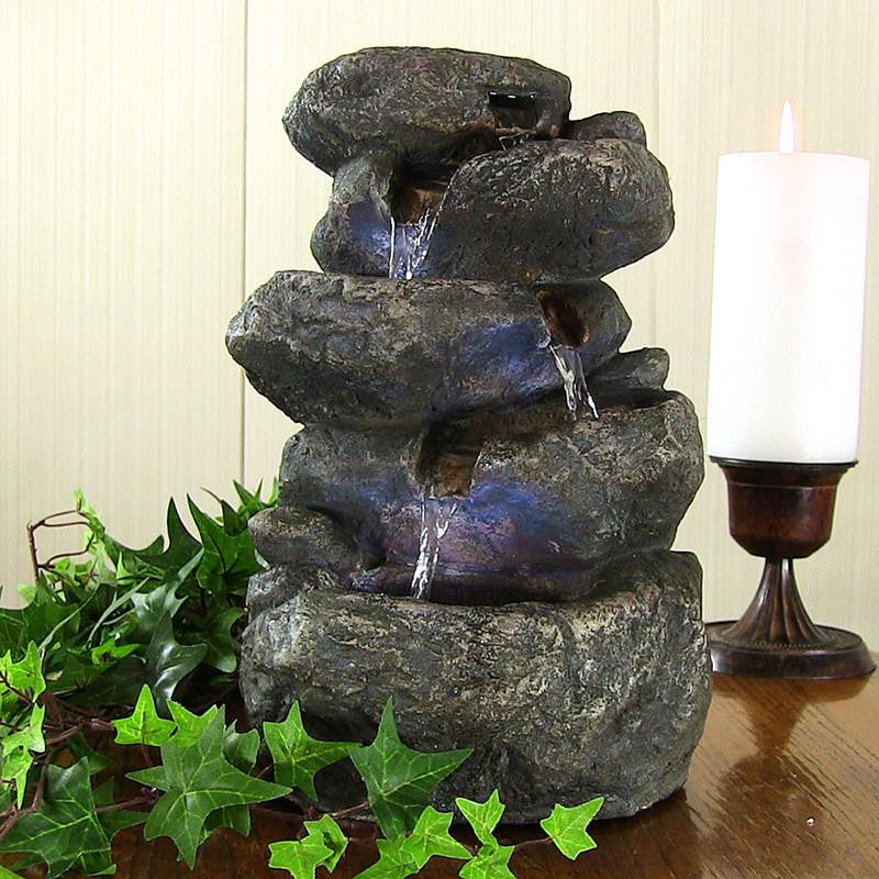 Stacked Rocks Tabletop Fountain with LED Lights - Main View