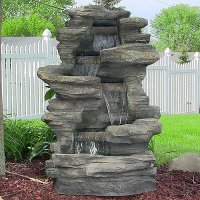 Sunnydaze Decor - Stacked Shale Outdoor Water Fountain with LED Lights - Inspired Fire and Water Features