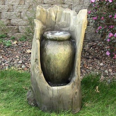 Sunnydaze Decor - Stump Urn Fountain w/LED Light - Inspired Fire and Water Features