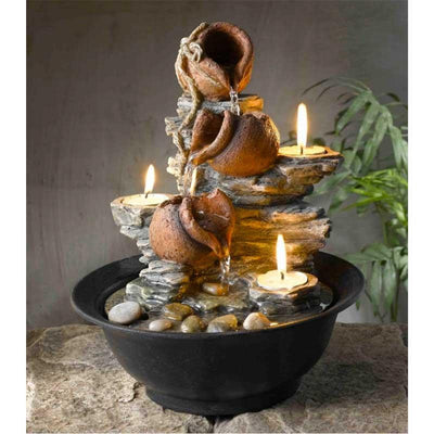 Jeco Tavolo Luci Mini Pot Tabletop Fountain with Candles - Indoor View