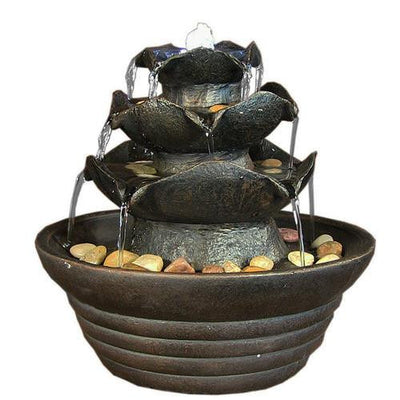 Sunnydaze Decor - Three Tier Cascading Tabletop Fountain with LED Lights - Inspired Fire and Water Features