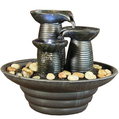 Sunnydaze Decor - Three Pillars Pouring Tabletop Fountain with LED Lights - Inspired Fire and Water Features