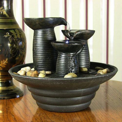 Three Pillars Pouring Tabletop Fountain with LED Lights