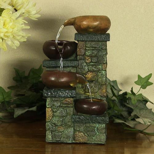 Tiered Pitchers on Brick Steps Tabletop Fountain with LED Lights