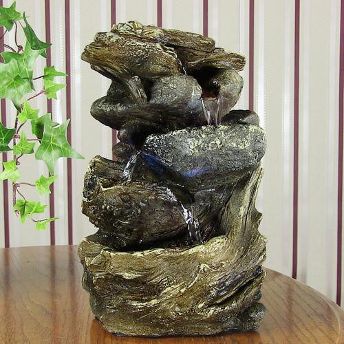 Tiered Rock and Log Tabletop Fountain with LED Lights