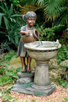 Versando Bird Bath Outdoor Water Fountain - Outside View inspiredfireandwaterfeatures.com