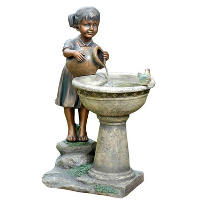 Versando Bird Bath Outdoor Water Fountain - Main View inspiredfireandwaterfeatures.com