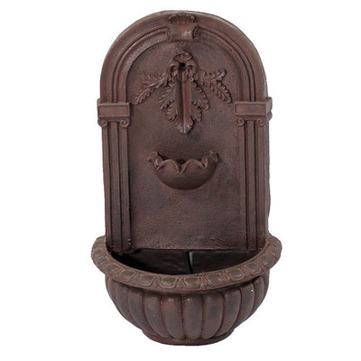 Florence Solar-On-Demand Outdoor Wall Fountain - Weathered Iron