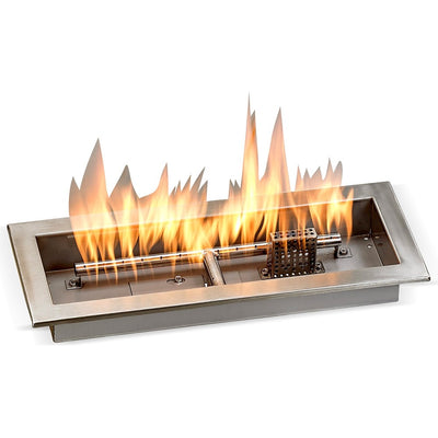 "18"" x 6"" Stainless Steel Rectangular Drop-in Fire Pit Pan With Electric Ignition System kit, CSA Certified - Flame View"