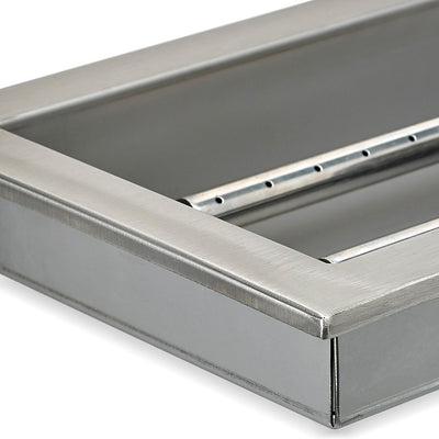 "18"" x 6"" Stainless Steel Rectangular Drop-in Fire Pit Pan With Electric Ignition System kit, CSA Certified - Close - Up"