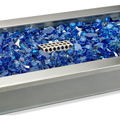 "18"" x 6"" Stainless Steel Rectangular Drop-in Fire Pit Pan With Electric Ignition System kit, CSA Certified - Cobalt Fire Glass View"
