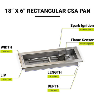 "18"" x 6"" Stainless Steel Rectangular Drop-in Fire Pit Pan With Electric Ignition System kit, CSA Certified - Diagram"
