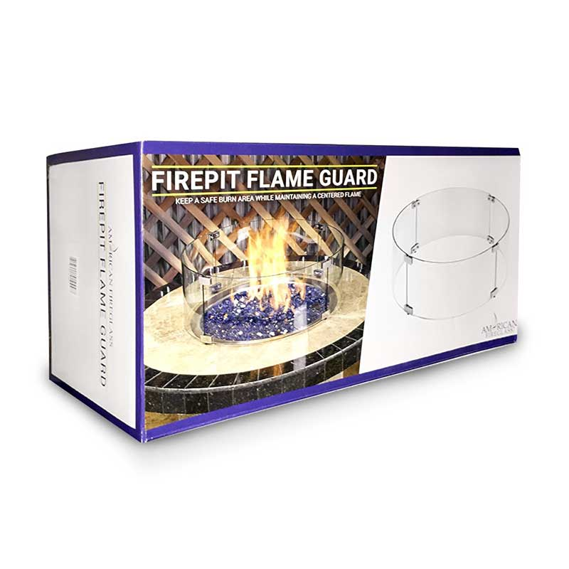 Rectangular Glass Flame Guard for Drop-In Fire Pit Pan