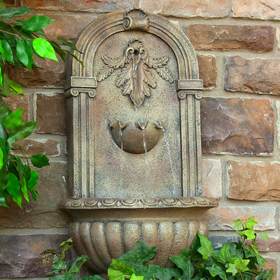 Florence Outdoor Wall Fountain - Florentine Stone - Garden View