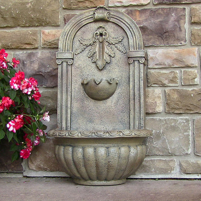 Florence Outdoor Wall Fountain - Florentine Stone - On Floor