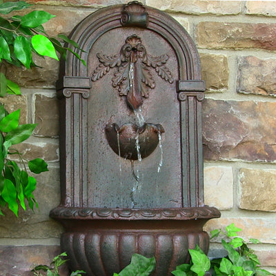 Florence Solar-On-Demand Outdoor Wall Fountain - Weathered Iron - Garden View