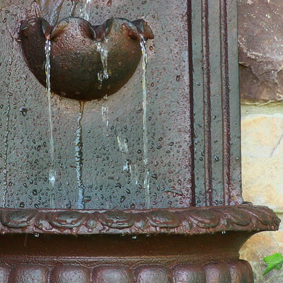 Florence Solar-On-Demand Outdoor Wall Fountain - Weathered Iron - Bottom View