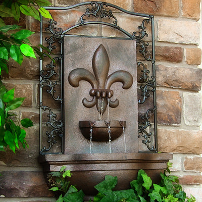 Sunnydaze French Lily Outdoor Wall Fountain - Weathered Iron - Garden View