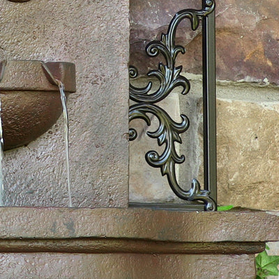 Sunnydaze French Lily Outdoor Wall Fountain - Weathered Iron - Bottom View