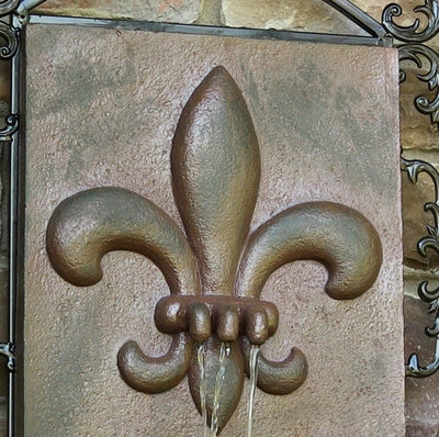 Sunnydaze French Lily Outdoor Wall Fountain - Weathered Iron - Top View