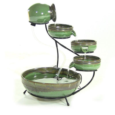 Sunnydaze Green/Sand Ceramic Cascade Solar Fountain - Main View