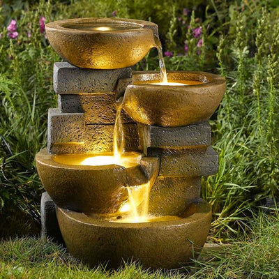 Jeco Pots Water Fountain with LED Light-garden view