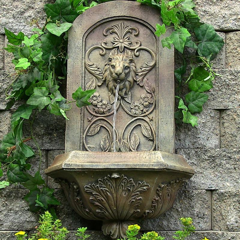 Sunnydaze Decorative Lion Wall Fountain - Florentine Stone