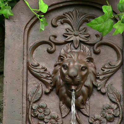 Sunnydaze Decorative Lion Outdoor Wall Fountain - Weathered Iron - Top View