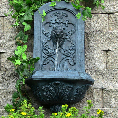 Sunnydaze Decorative Lion Solar Only Wall Fountain - Lead - Garden View