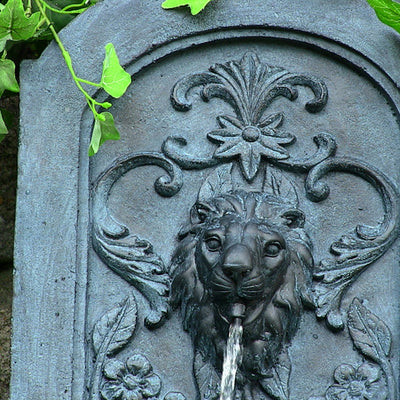 Sunnydaze Decorative Lion Solar Only Wall Fountain - Lead - Top View