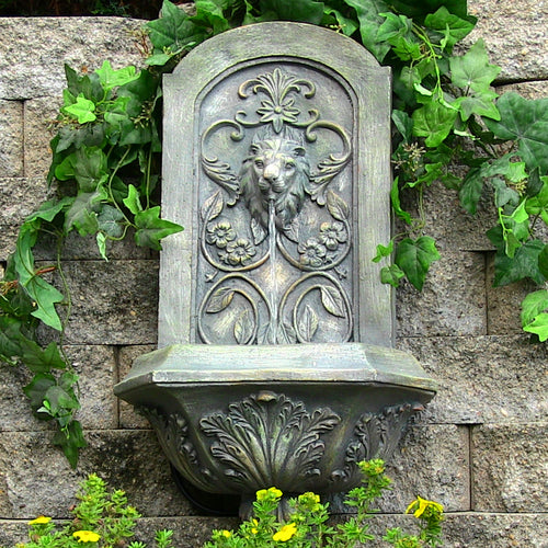 Sunnydaze Decorative Lion Wall Fountain - French Limestone