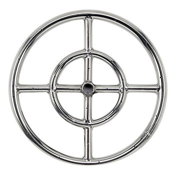 "American Fire Glass™ - American Fireglass 12 Inch Single-Ring Stainless Steel Burner with a 1/2"" Inlet - Inspired Fire and Water Features"