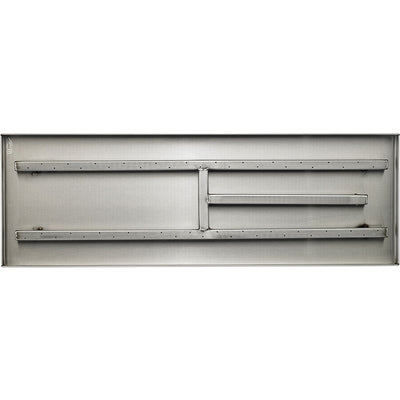 30 Inch Stainless Steel Rectangular Fireplace Pan Burner - Top View