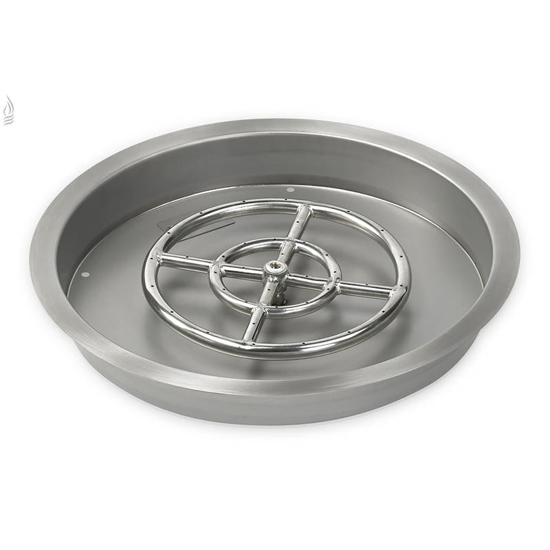 "19"" Round Stainless Steel Drop-In Fire Pit Pan (1/2"" Nipple) - Main View"