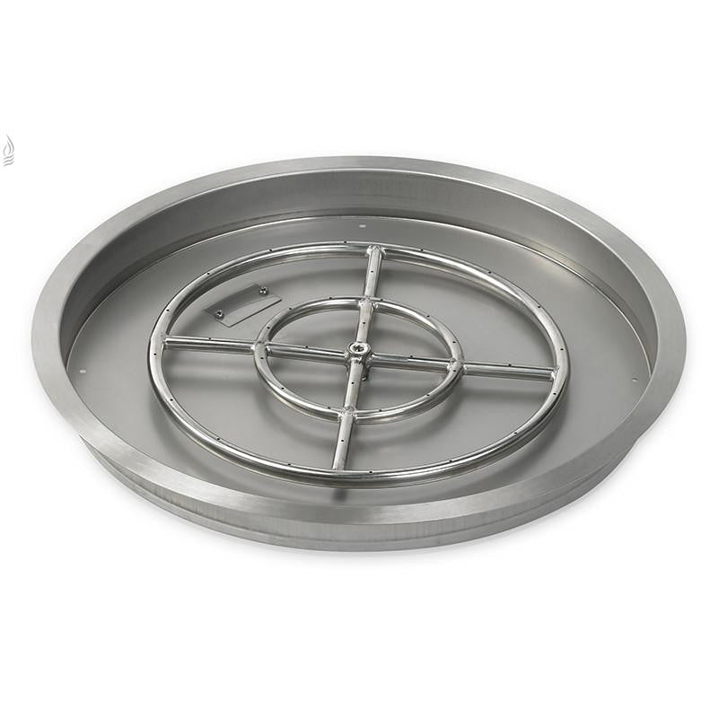 "25"" Round Stainless Steel Drop-In Fire Pit Pan (1/2"" Nipple) - Main View"