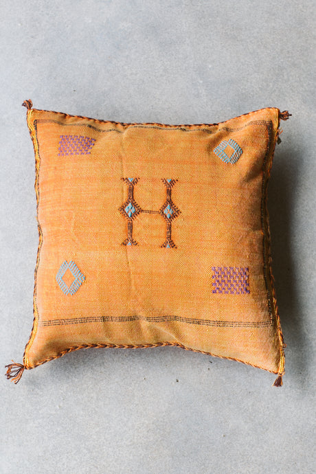Cactus Silk Pillow - Orange with Colorful Embroidery