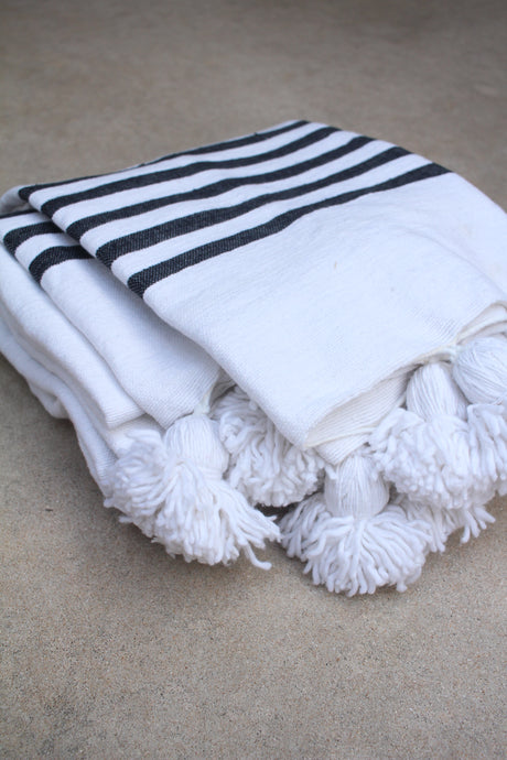 Pom Pom Blanket - White/Black Stripe