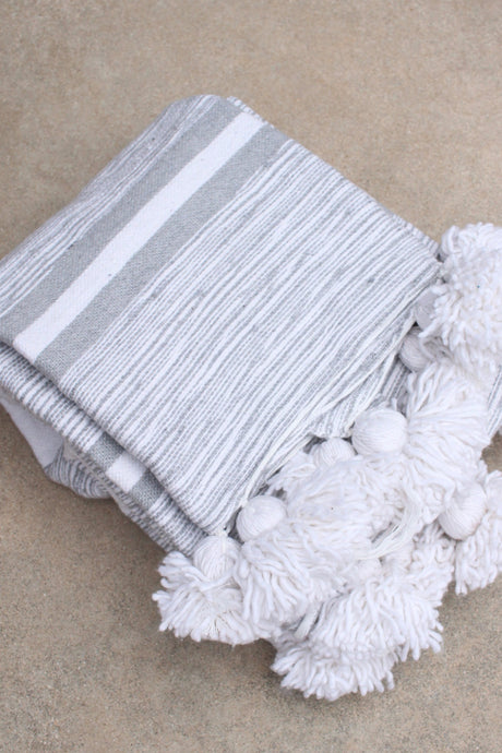 Pom Pom Blanket - White/Light Grey Stripe