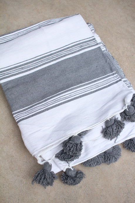 Pom Pom Blanket - White/Charcoal Large Stripe