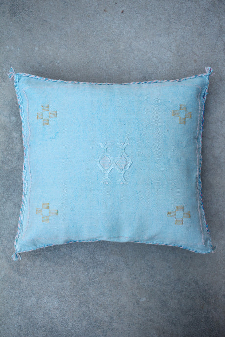 Cactus Silk Pillow - Blue