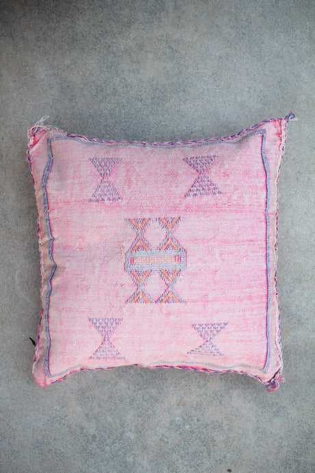 Cactus Silk Pillow - Pink