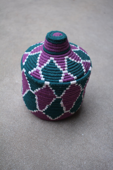 Lidded Basket - Purple & Teal