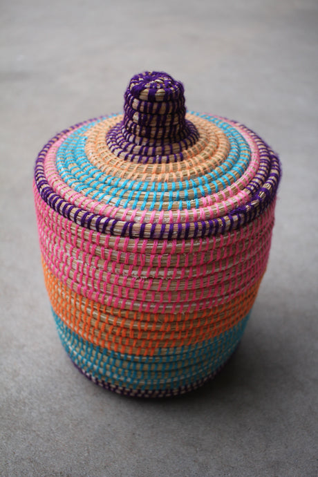 Lidded Basket - Multi Color