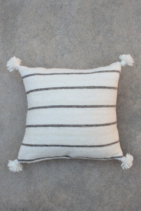 Pom Pom Pillow Cover - Natural Wool with Dark Beige Stripe