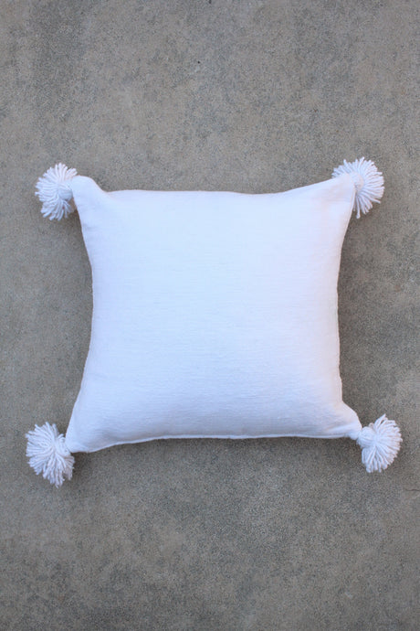 Pom Pom Pillow Cover - Solid White Cotton