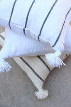 Pom Pom Pillow Cover - White Cotton with Charcoal Stripe