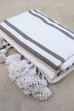 Pom Pom Blanket - Ivory with Charcoal Gray Stripes