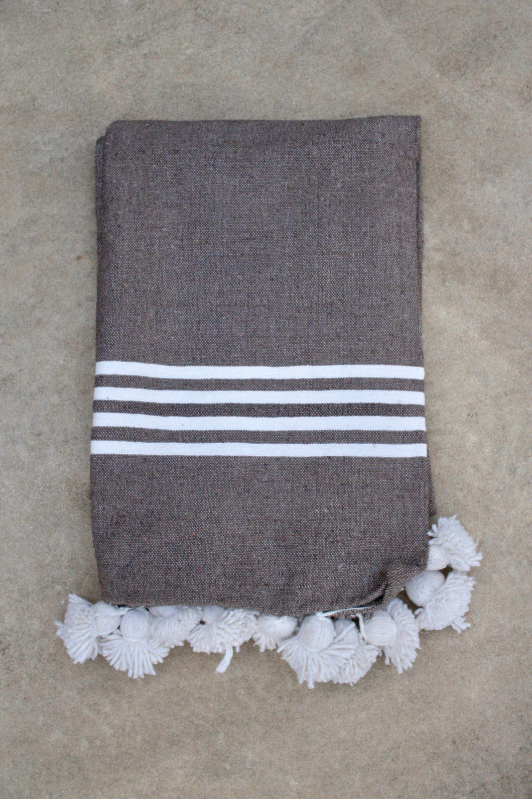 Pom Pom Blanket - Charcoal Stripe