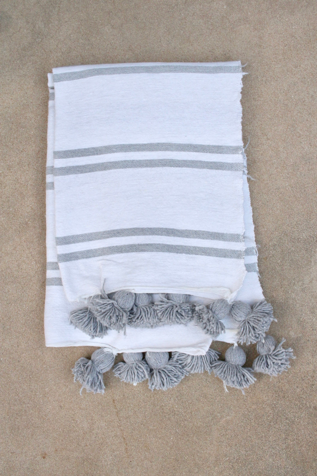 Pom Pom Blanket - White with Grey Stripe